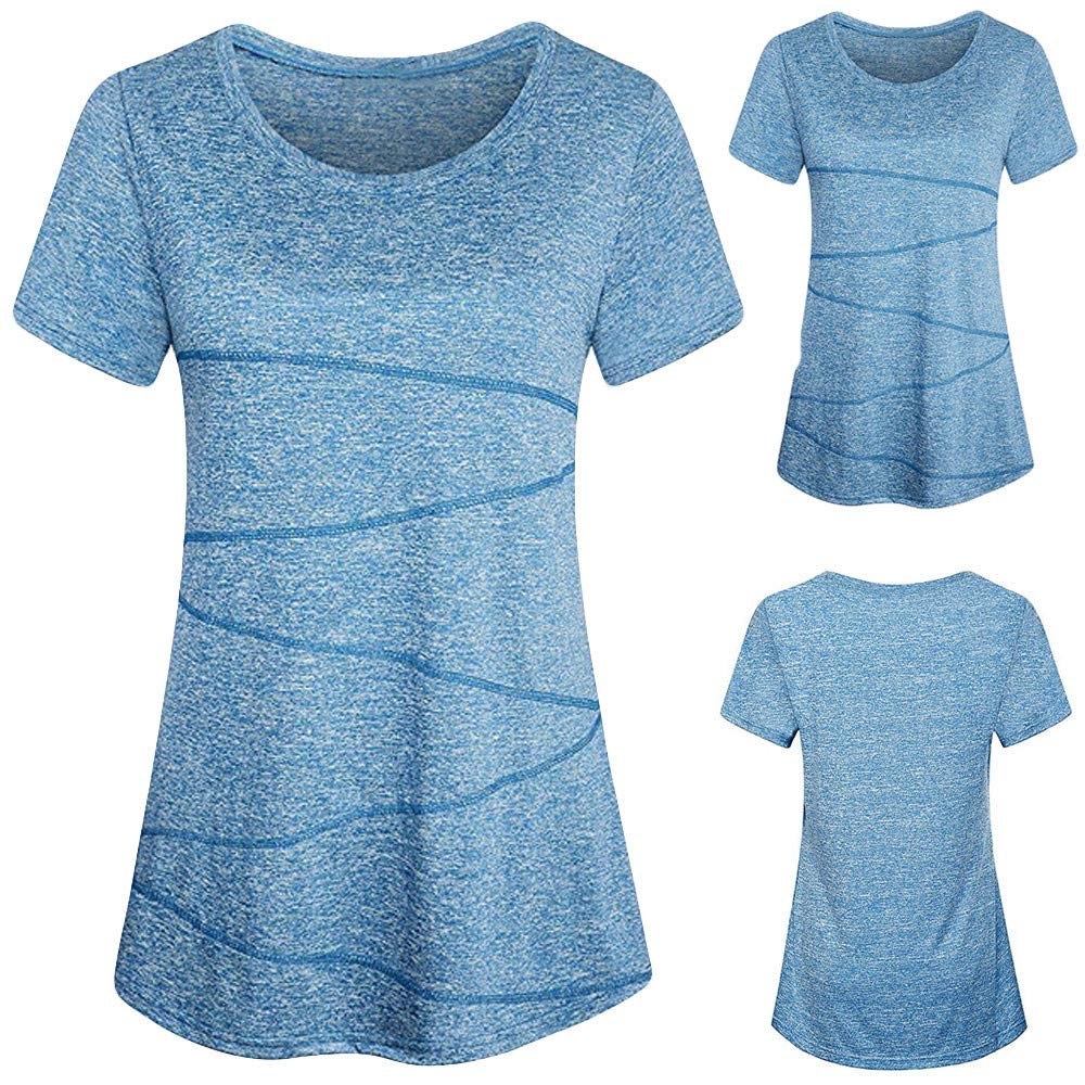 Wobuoke Womens Fashion Blouse Short Sleeve Yoga Tops Activewear Running Workout T-Shirt Blue