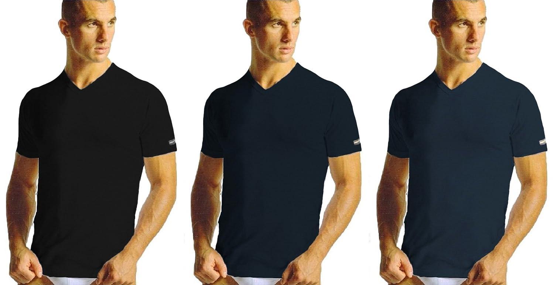 3 maglie t-shirt uomo cotone NAVIGARE plus scollo a punta art. 512 taglie calibrate (10, nero/navy/jeans)