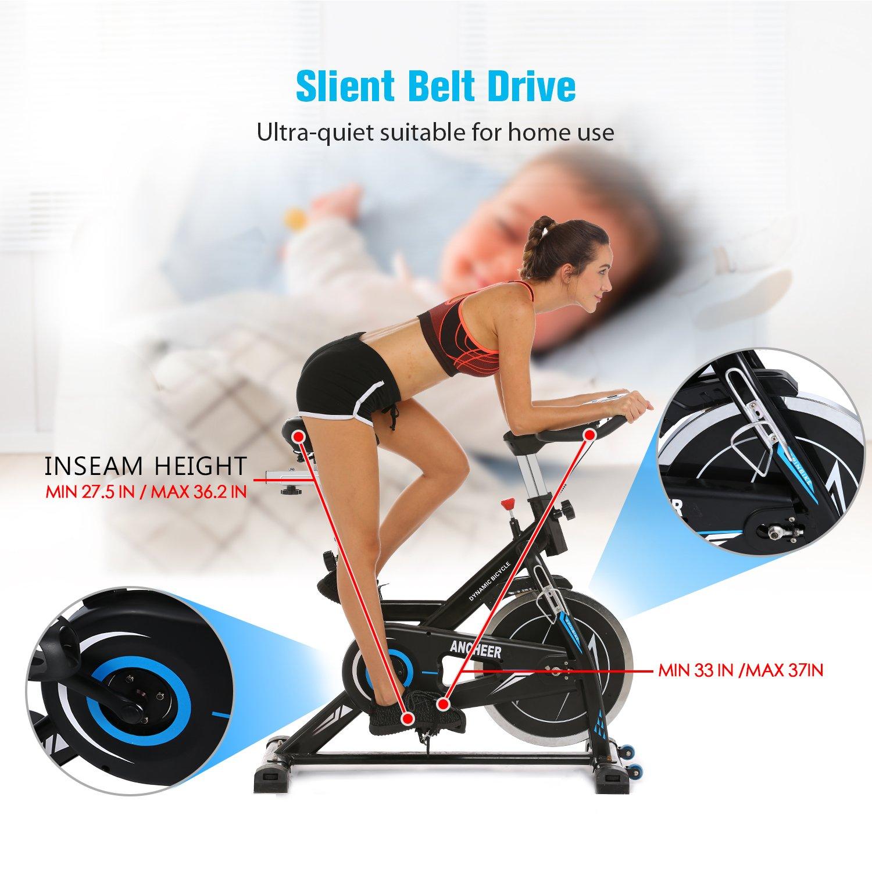 ANCHEER Indoor Cycling Bike, Belt Drive Indoor Exercise Bike with 49LBS Flywheel (Black) by ANCHEER (Image #4)