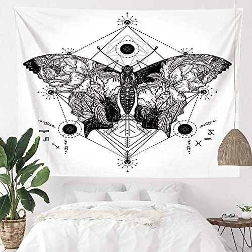 Geometric Butterfly Black and White Tapestry Wall Hanging, Simple Nature Floral Insect Psychedelic Tapestries for Home Dorm Living Room Bedroom Decor for Men and Women with Non-Mark Hooks Clips