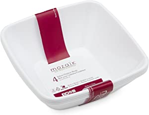 Mozaik Premium Plastic 14oz. White Square Bowls, 4 count