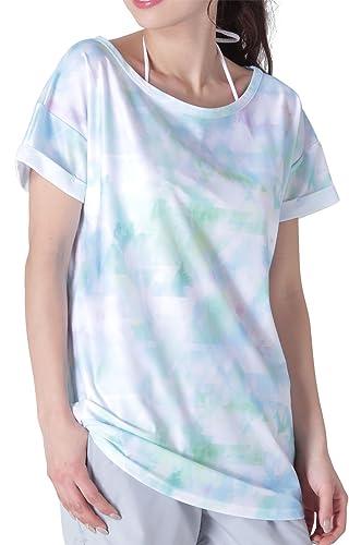 ICEPARDAL(アイスパーダル)無地4色/柄9色レディースラッシュガードオーバーTシャツ半袖IR-7400TRI-SKYWMサイズカバーアップUVカットUPF50+ティーシャツ体型カバー水着おしゃれ人気タイダイ柄水色