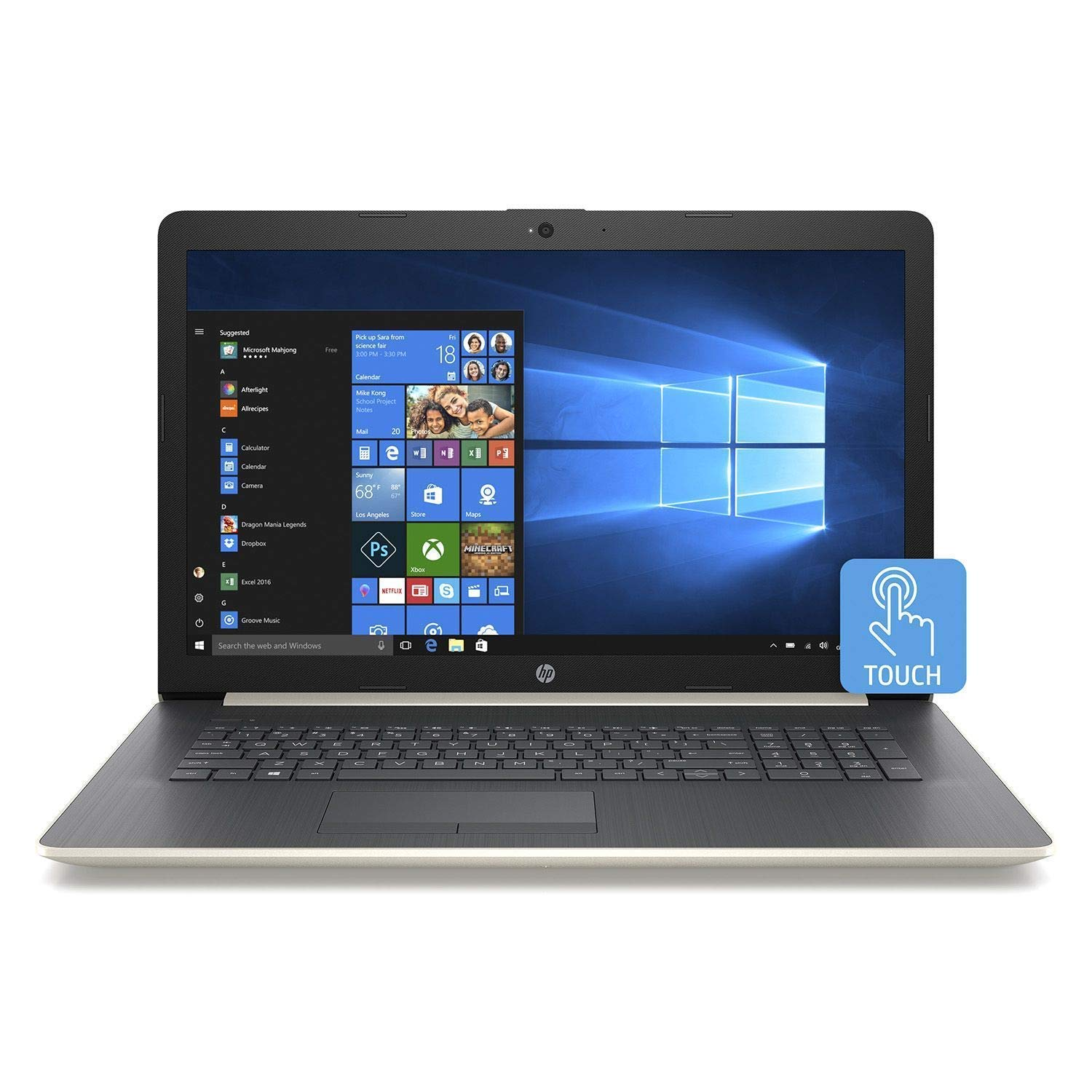 2019 HP 17.3 HD Touchscreen Premium Laptop Computer, AMD A9-9425 Up to 3.7GHz, 32GB DDR4 RAM, 2TB HDD, AMD Radeon R5, DVDRW, WiFi, Bluetooth 4.2, USB 3.1, HDMI, Pale Gold, Windows 10 Home