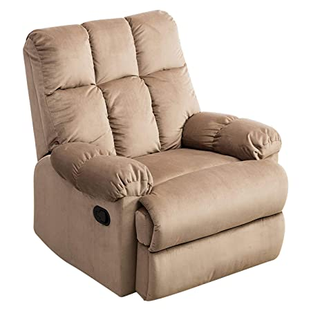 Mecor Recliner Chair Manual Reclining Chair Fabric Quilted Padded Single Sofa Chair for Living Room Camel
