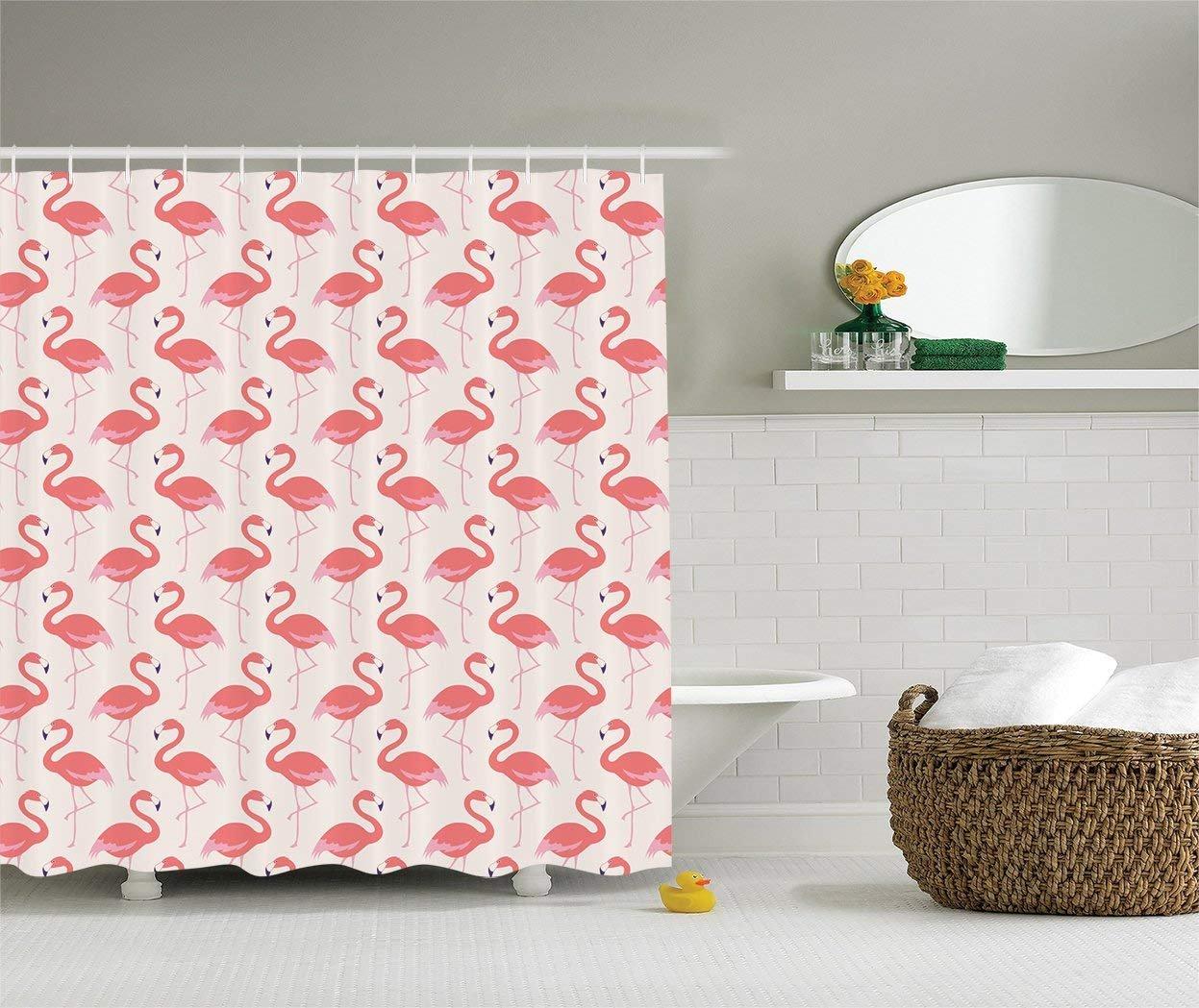 Ambesonne flamingo decor collection ornamental feminine bird design and seamless flamingos image pattern polyester fabric bathroom shower curtain set