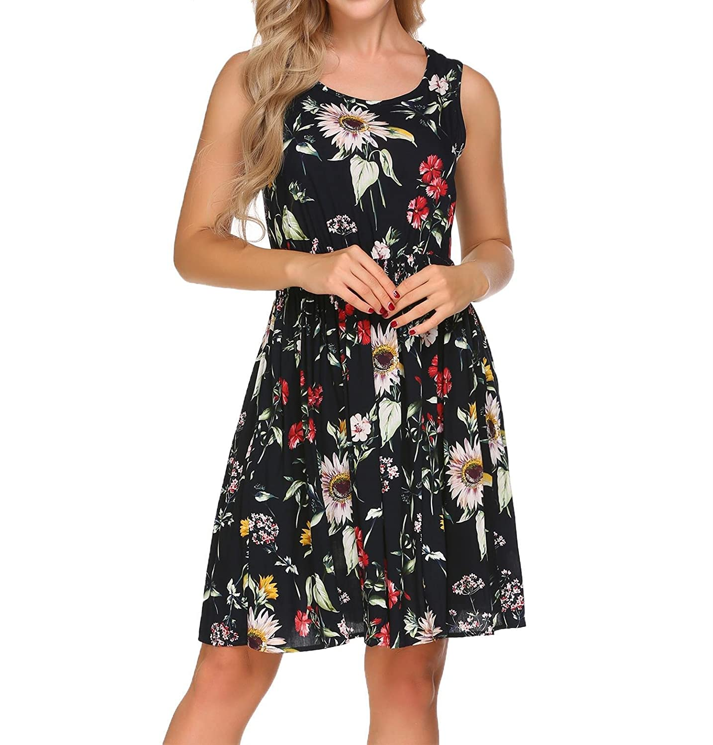 006d190d17 Zeela Womens Casual O-Neck Floral Sundresses Sleeveless Fit and Flare Dress  for Summer at Amazon Women s Clothing store