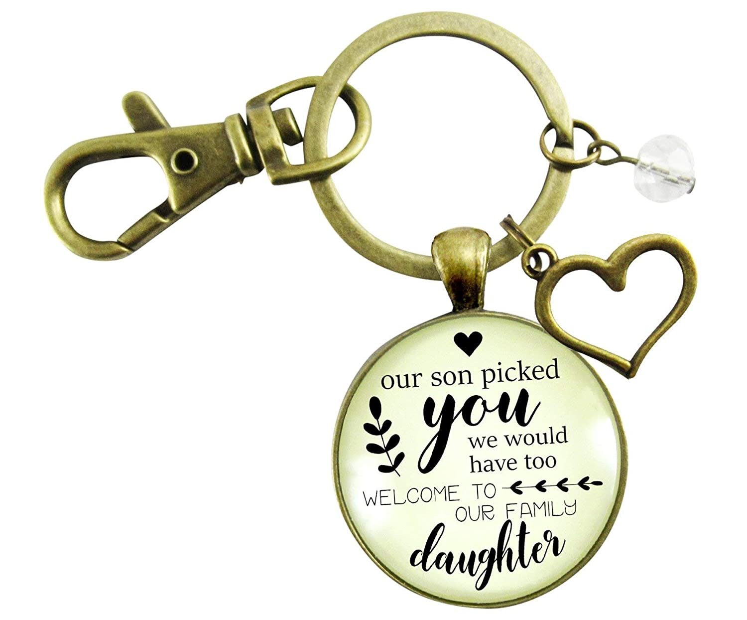 Daughter In Law Keychain Our Son Picked You Keepsake Wedding Jewelry Gift For Bride Heart Charm Thoughtful Card