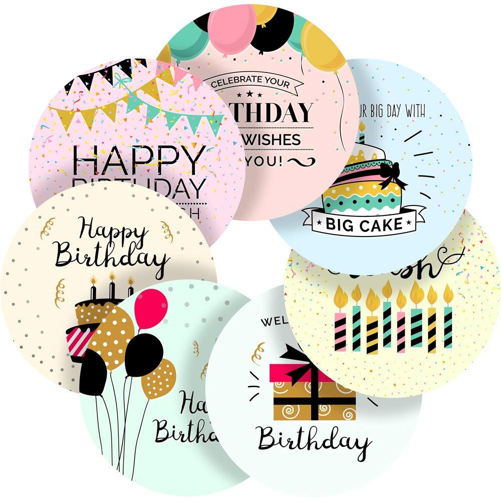 Light happy birthday messages reward sticker labels 70 stickers 1 inch glossy photo quality ideal for children parents teachers schools doctors nurses