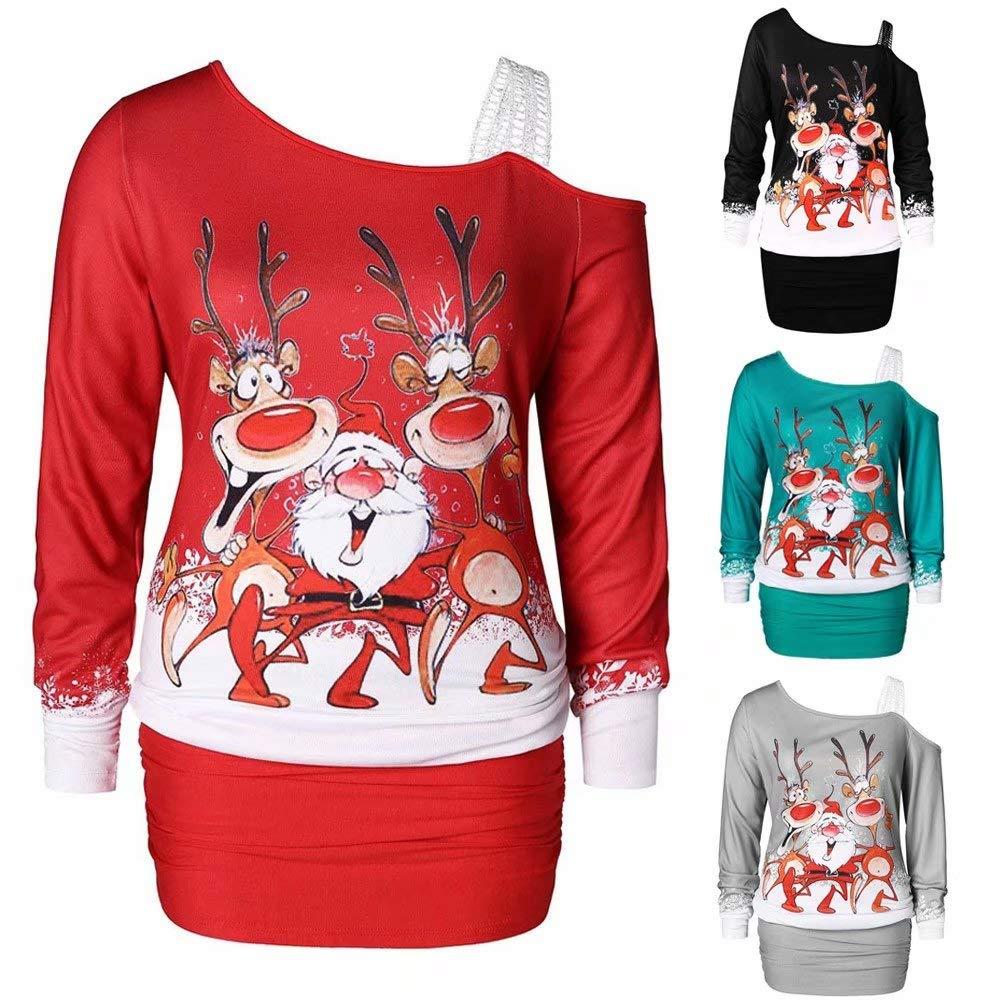 Women One Shoulder Christmas Print Bodycon Dress Ladies Party Dress