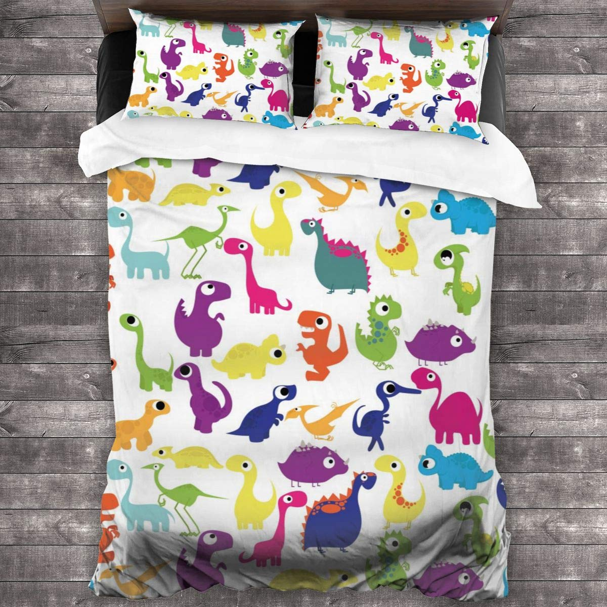 """ACHOGI Twin Size Dinosaurs Print Bedding Duvet Cover 3 Piece Set Soft and Breathable with Zipper Closure & Corner Ties 86""""x70"""""""