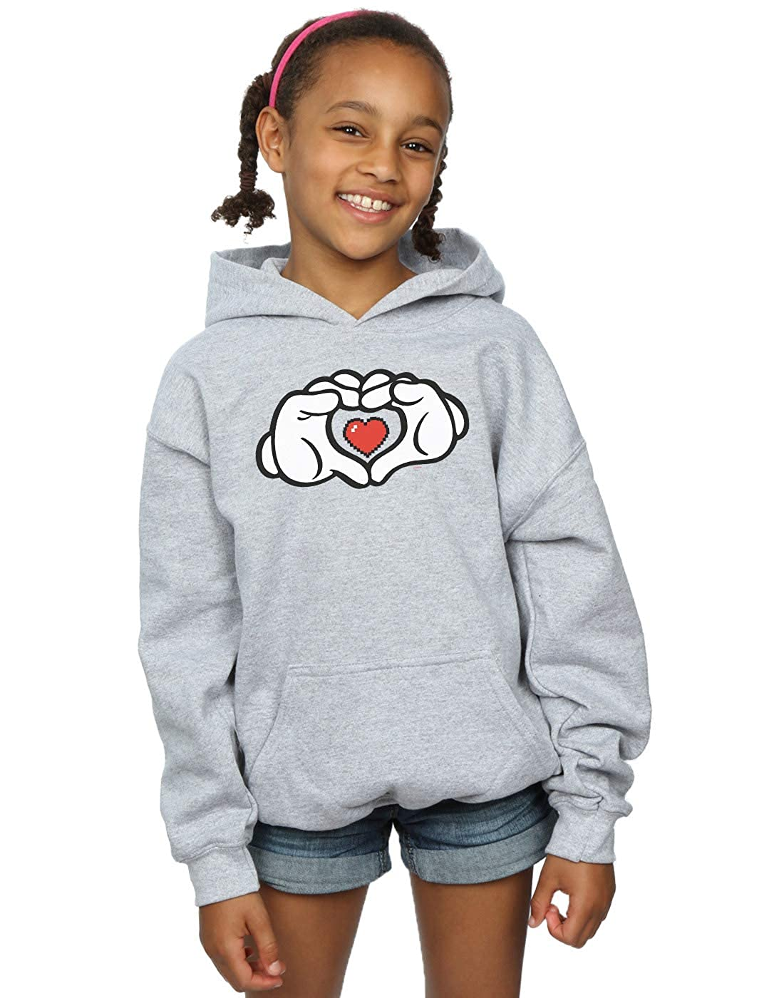 Disney Girls Mickey Mouse Heart Hands Hoodie