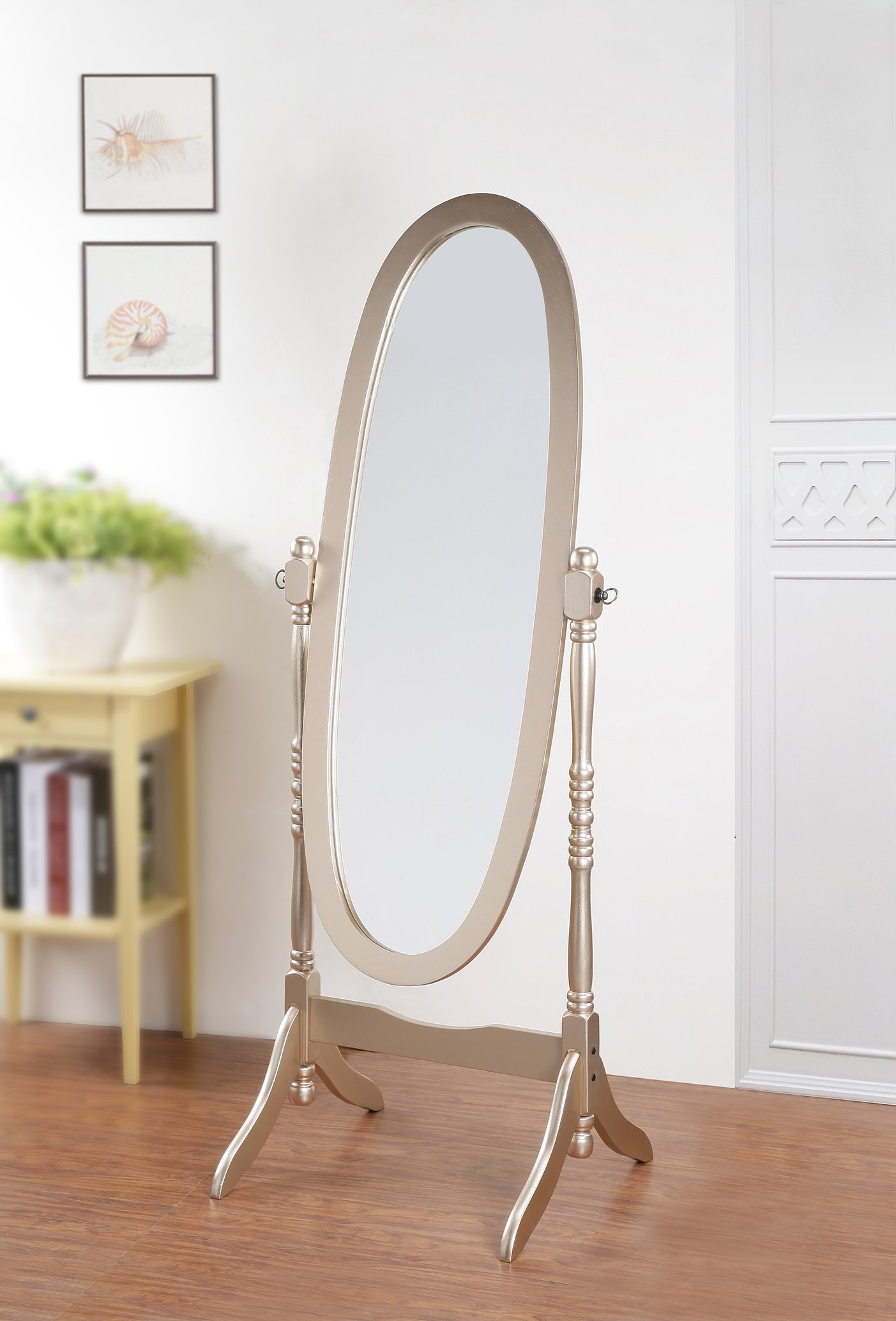 None Wooden Cheval Floor Mirror, Golden Finish by eHomeProducts