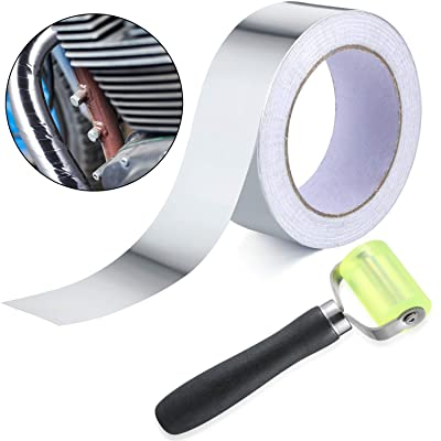 30 Meter Aluminum Foil Tape Finishing Sealing Tape with 1 Pack Car Sound Deadener Auto Noise Filter Application Insulation Tool Rolling Wheel Roller for Car Sound Deadening Installation: Automotive