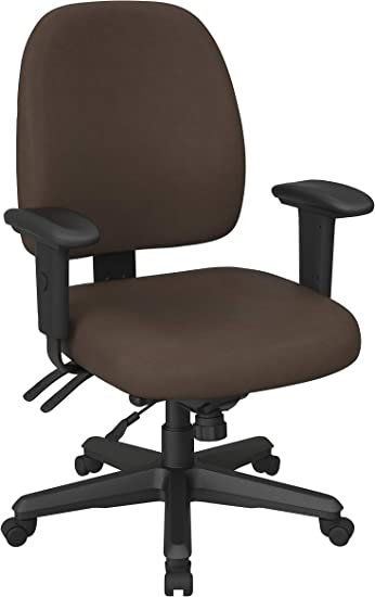 Amazon Com Office Star Back Mid Ergonomic Office Desk Chair With Adjustable Height Tilt And Padded Arm Rests Dillon Java Fabric Furniture Decor