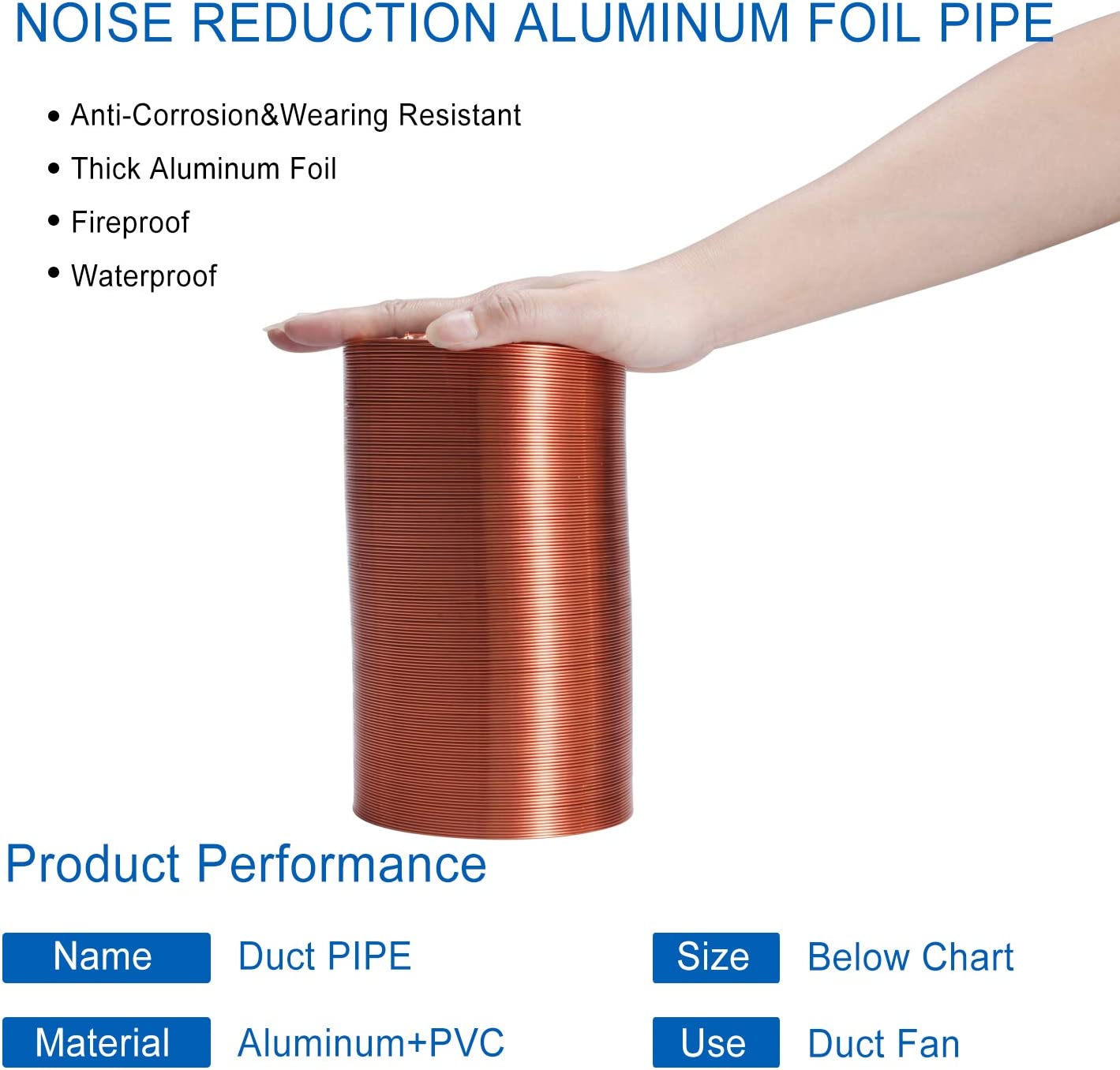 Hon/&Guan 4 Inch Flexible Clothes Dryer Transition Duct Copper Hose Aluminum HVAC Ducting 6.56 Feet for Grow Room Tent Ventilation Cooling HVAC Heating or Dryers
