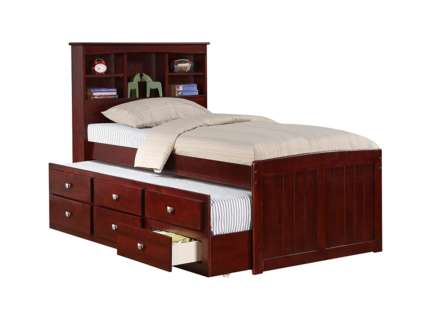 amazoncom twin mission captains cappucino bookcase trundle bed kitchen u0026 dining