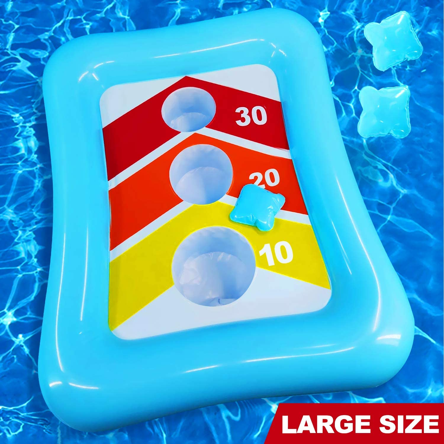"""iGeeKid 36"""" Swimming Pool Ring Toss Games Inflatable Pool Toys Floating Toss Game for Kids Adults Floating Cornhole Board Set Swimming Toys Summer Pool Party Water Carnival Outdoor Beach Toy"""