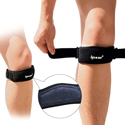 2f182bc8aa IPOW 2 Pack Thickened Pad&Wide Patella Knee Strap,Pain Relief Patellar  Tendon Support,Adjustable