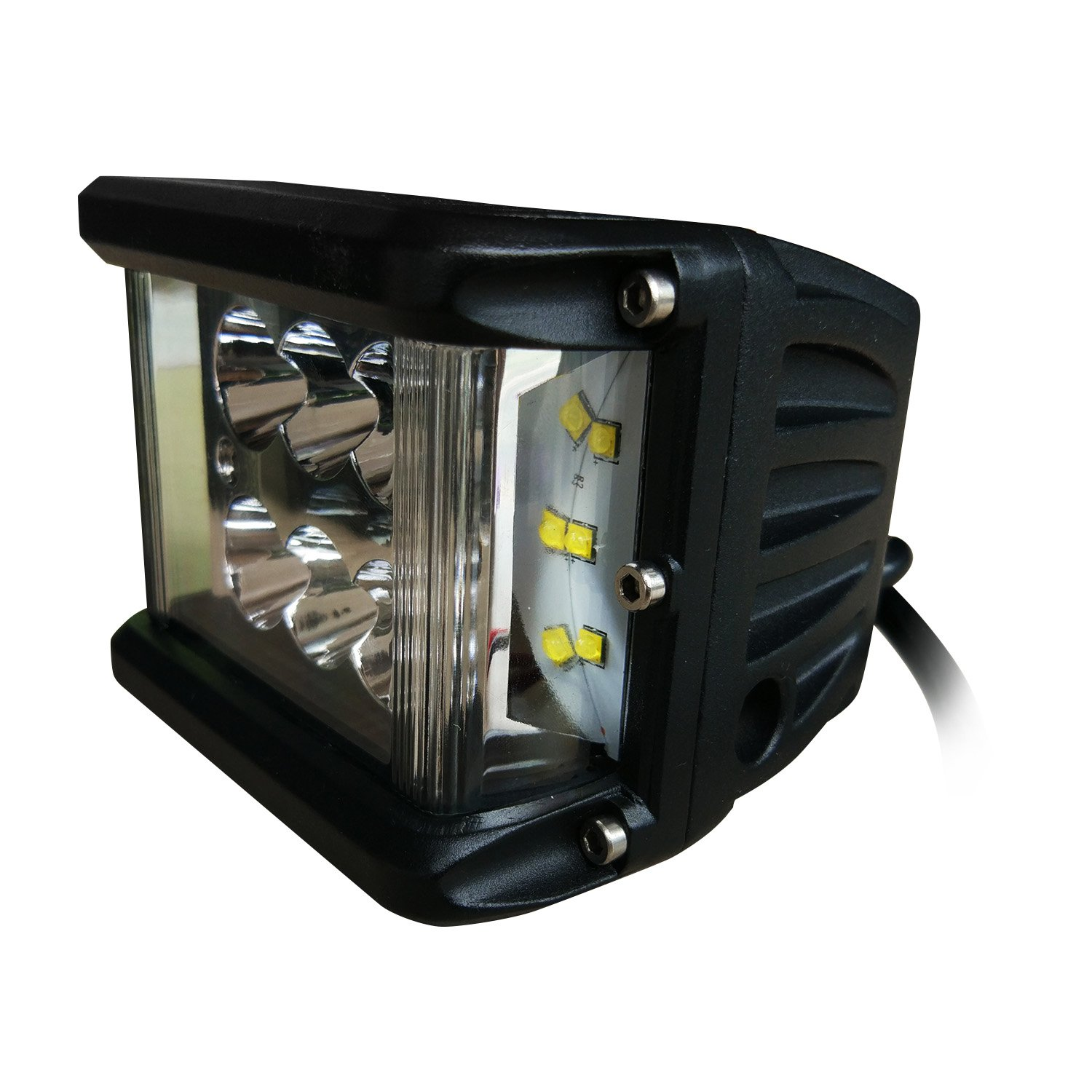 Chihein LED Pods Work Light, 4'' 60W 5100LM Floodlight Off Road Super Bright Waterproof Driving Running Lights