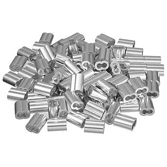 sourcingmap® 100 Stück 0,16Zoll (4mm) Drahtseil Aluminium Hülsen ...