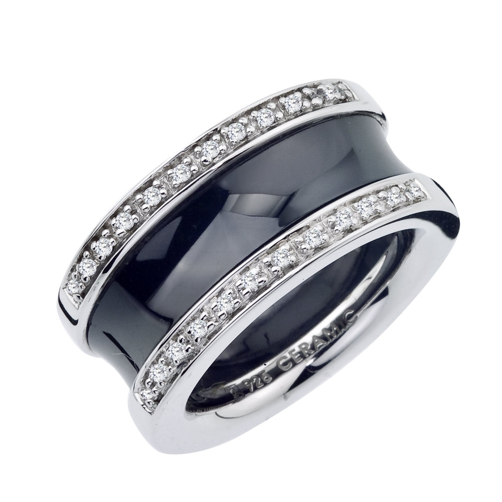 12mm Diamond Band in Black Ceramic and Sterling Silver (0.16 carats, H-I I2 I3)