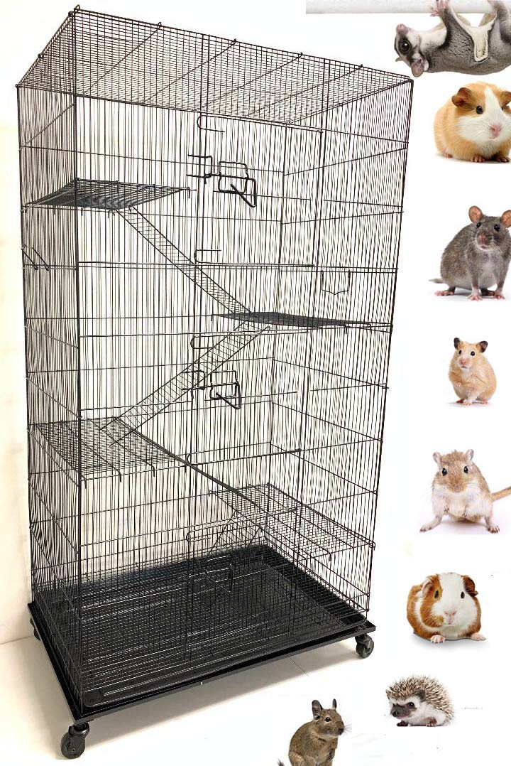 Mcage X-Large 5-Levels Ferret Chinchilla Sugar-Glider Rats Mice Gerbil Cage with Removable Stand, 32-Inch by 19-Inch by 60-Inch (Black Vein) by Mcage