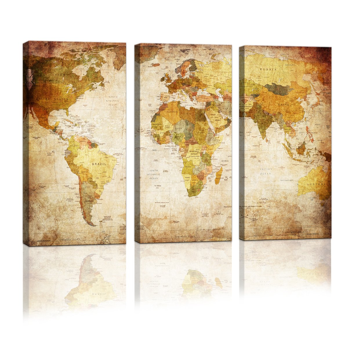 Amazon.com: youkuart Canvas Prints Map Art, 3 Panels World Map Wall ...