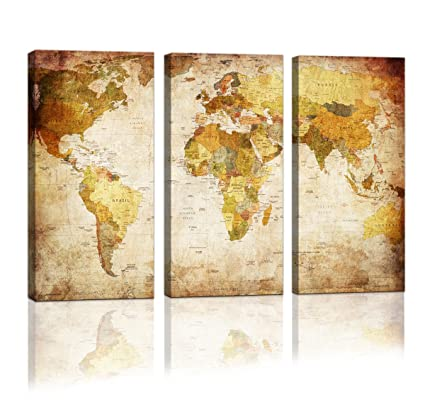 Amazon.com: youkuart Canvas Prints Map Art, 3 Panels World Map Wall ...