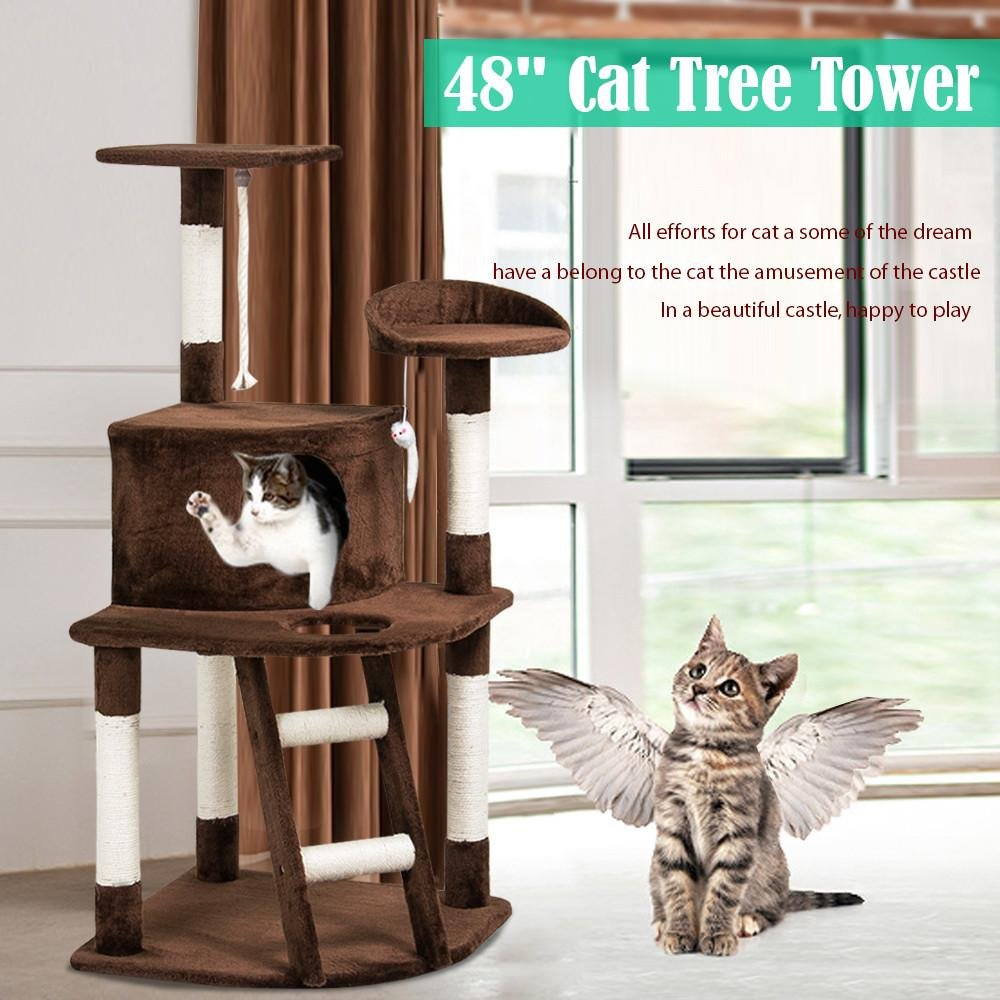 Yaheetech 48'' Cat Tree Kitten Tower Bed Sisal Scratching Post Furniture Playhouse Condo Stairs (Brown)