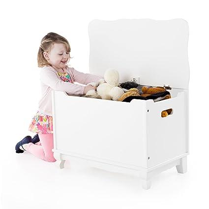 Guidecraft Classic Toy Box   White: Wooden Trunk U0026 Chest, Children Toys  Storage