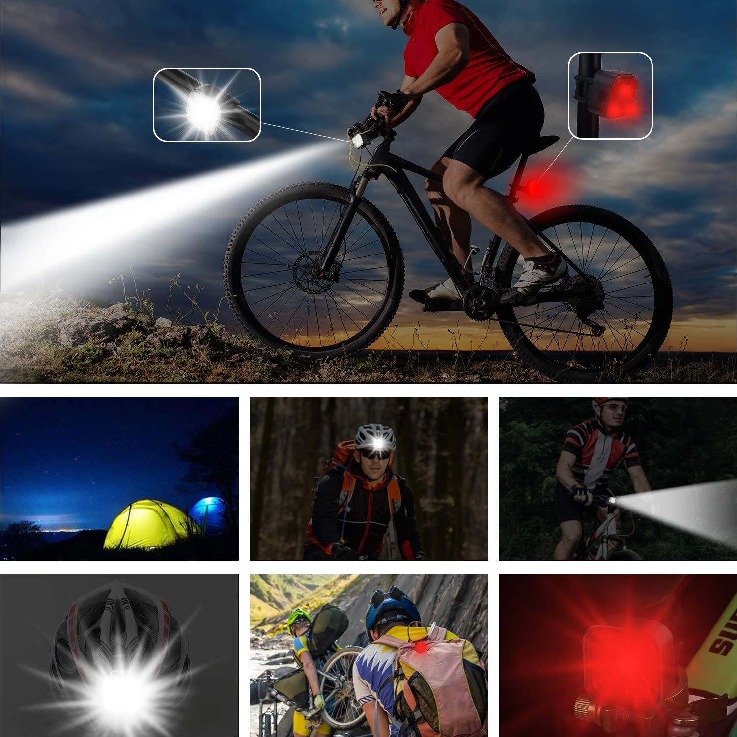 Super Bright LED Bicycle Lights Front and Rea Akale Rechargeable Bike Light Set