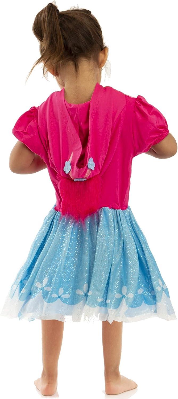Dreamworks Trolls World Tour Costume Poppy Cosplay Girls Dress Flutter Sleeve