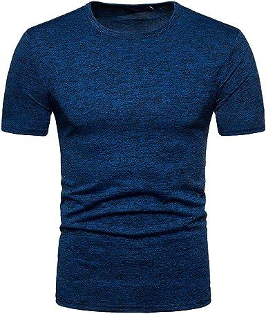 JURTEE Camiseta para Hombre Solid Color Cuello Redondo Blusa Pullover Manga Corta Remera Verano Slim Fit Tops: Amazon.es: Ropa y accesorios