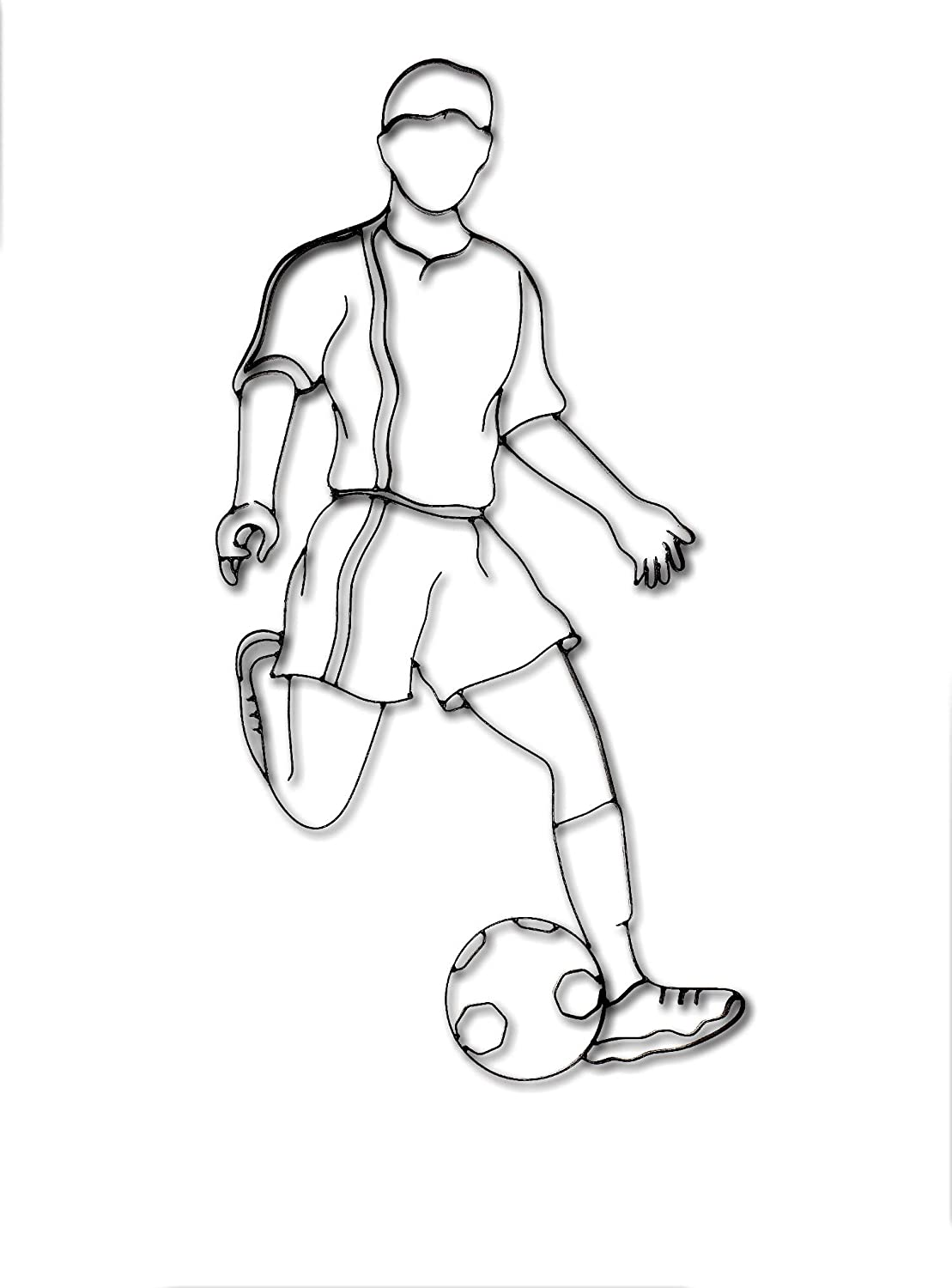 World Unique Imports SM-0731 Soccer Player Metal Wall Décor and Sculpture, Black
