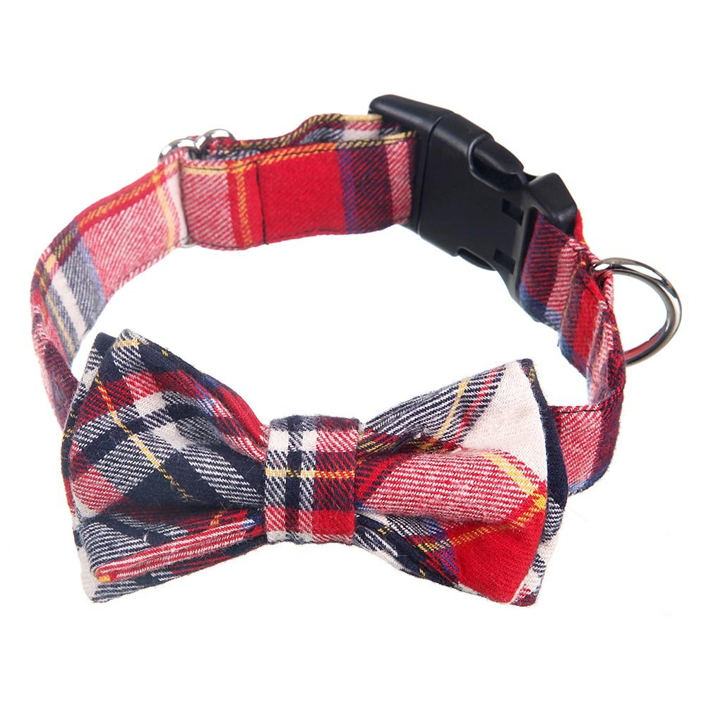 Red Loggipet Dog Cat Collar with Plaid Bowtie Bowknot Adjustable for Small Medium Large Dogs Cats