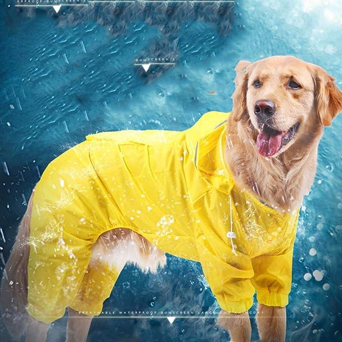 YunNasi Chubasquero para Perros Mascota Perro Impermeables Chubasqueros con Capucha para peque/ño Medianas y Grandes Perros Andar excursi/ón Acampada Deambular 9-37.5KG 5XL, Amarillo