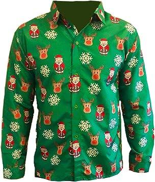 MENS CHRISTMAS SHIRT SANTA XMAS BLOUSE CASUAL TOPS PARTY T SHIRTS FANCY DRESS