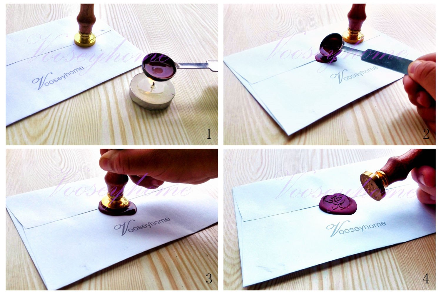 Vooseyhome The Cute Owl Wax Seal Stamp with Rosewood Handle - Ideal for Decorating Gift Packing, Envelopes, Parcels, Cards, Letters, Invitations, Signature and Everything You Like! by VOOSEYHOME (Image #6)