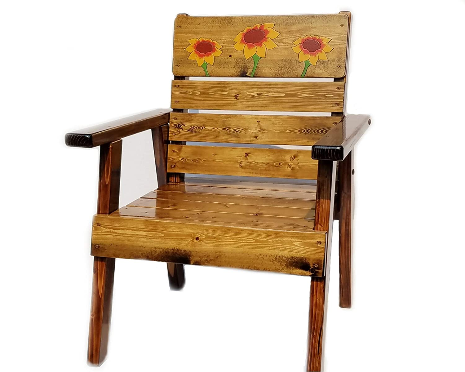 Patio, Lawn or Garden Outdoor Wood Chair with Sunflower Engraved and Painted Art
