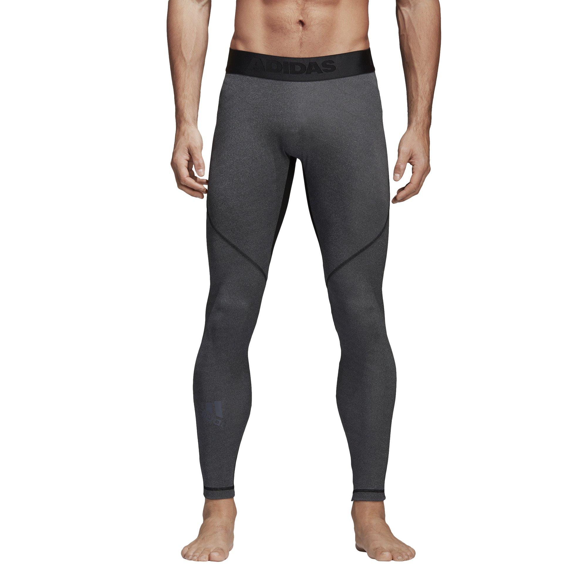 adidas Men's Training Alphaskin Sport Long Tights, Dark Grey Heather/Black, Small
