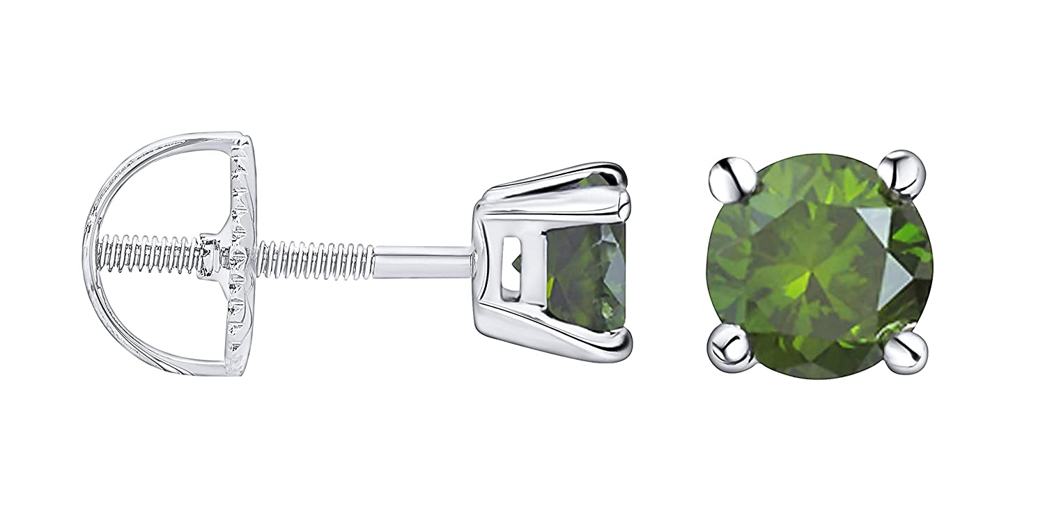 14k White Gold Prism Jewel 0.18 Carat Round Green Diamond Screw Back Prong Set Stud Earrings
