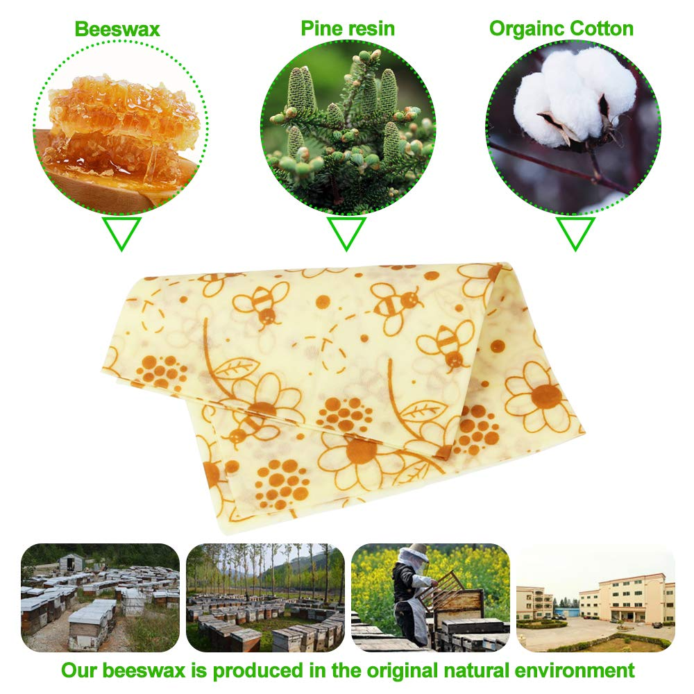 Vegetales Y Pan S//M//L Frutas para Almacenador Quesos DECARETA 3 PCS Envoltorios para Alimentos de Cera de Abejas,Envoltorios de Alimentos Reutilizables Ecol/ógicos,Antibacteriano