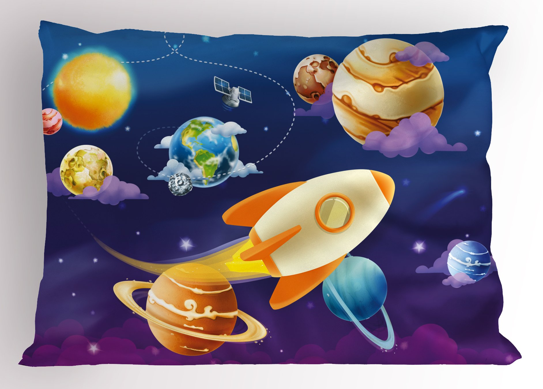 Lunarable Boy's Room Pillow Sham, Solar System of Planets with a Cute Spaceship Milky Way Galaxy Earth Jupiter Sun, Decorative Standard Queen Size Printed Pillowcase, 30 X 20 inches, Multicolor