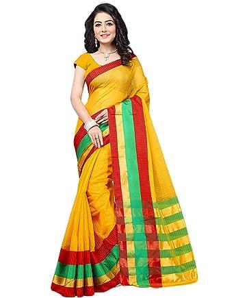 0cc1883bae BuyOnn Women's Cotton Blend Saree Wth Blouse Piece, Free Size(Multi Color):  Amazon.in: Clothing & Accessories