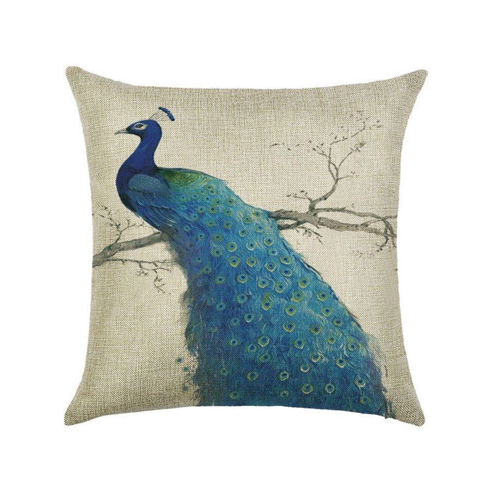 Hengjiang Bird Peacock Art Couvre-lit Taie doreiller double face en coton et lin Housses de coussin Canap/é Home Decor Cadeau plumes