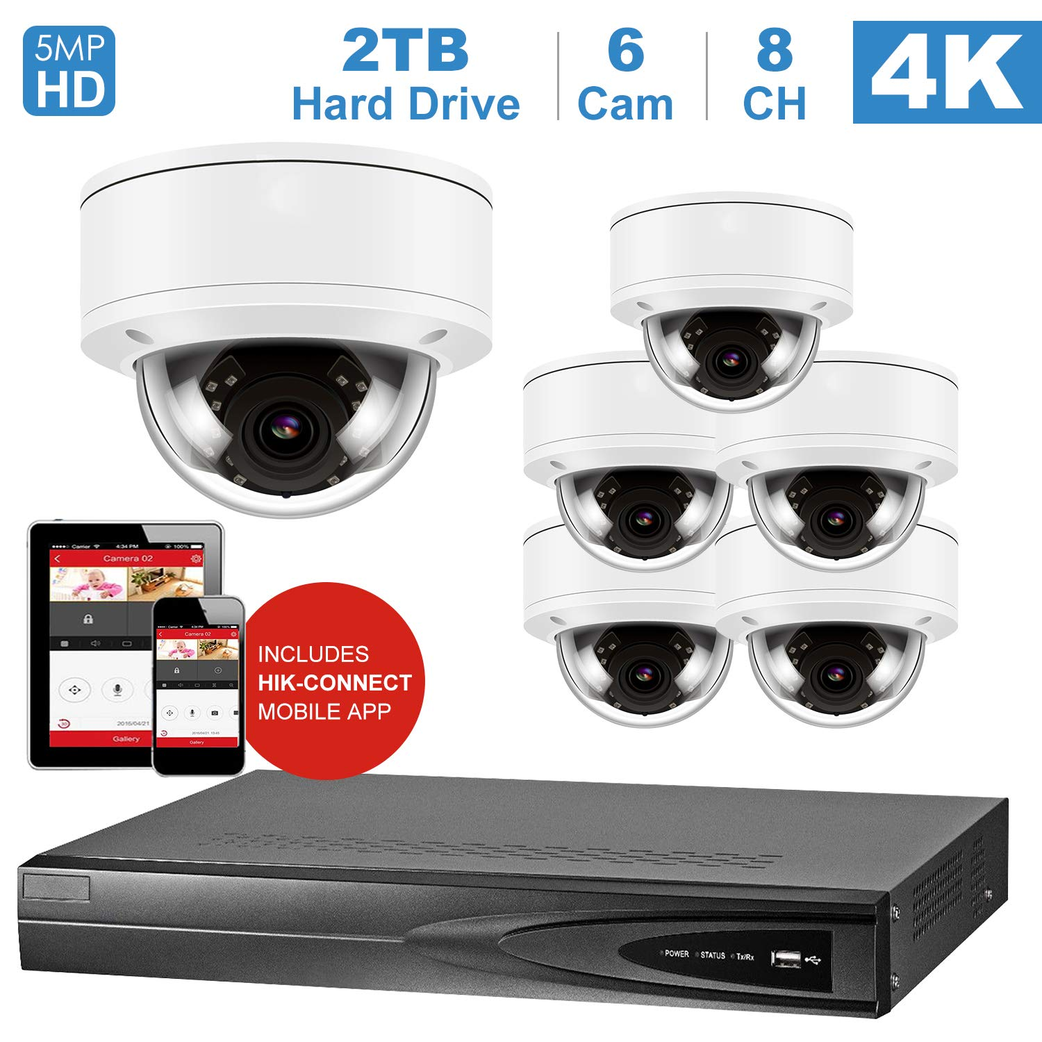 Amazon com: Anpviz 8 Channel 4K Home Security System with 6