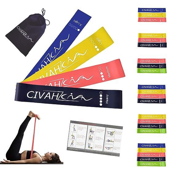 Bandas de resistencia látex natural banda de resistencia Entrenamiento para hysical terapia Yoga Pilates rehabilitación deporte Fitness cinturón set of 4: ...
