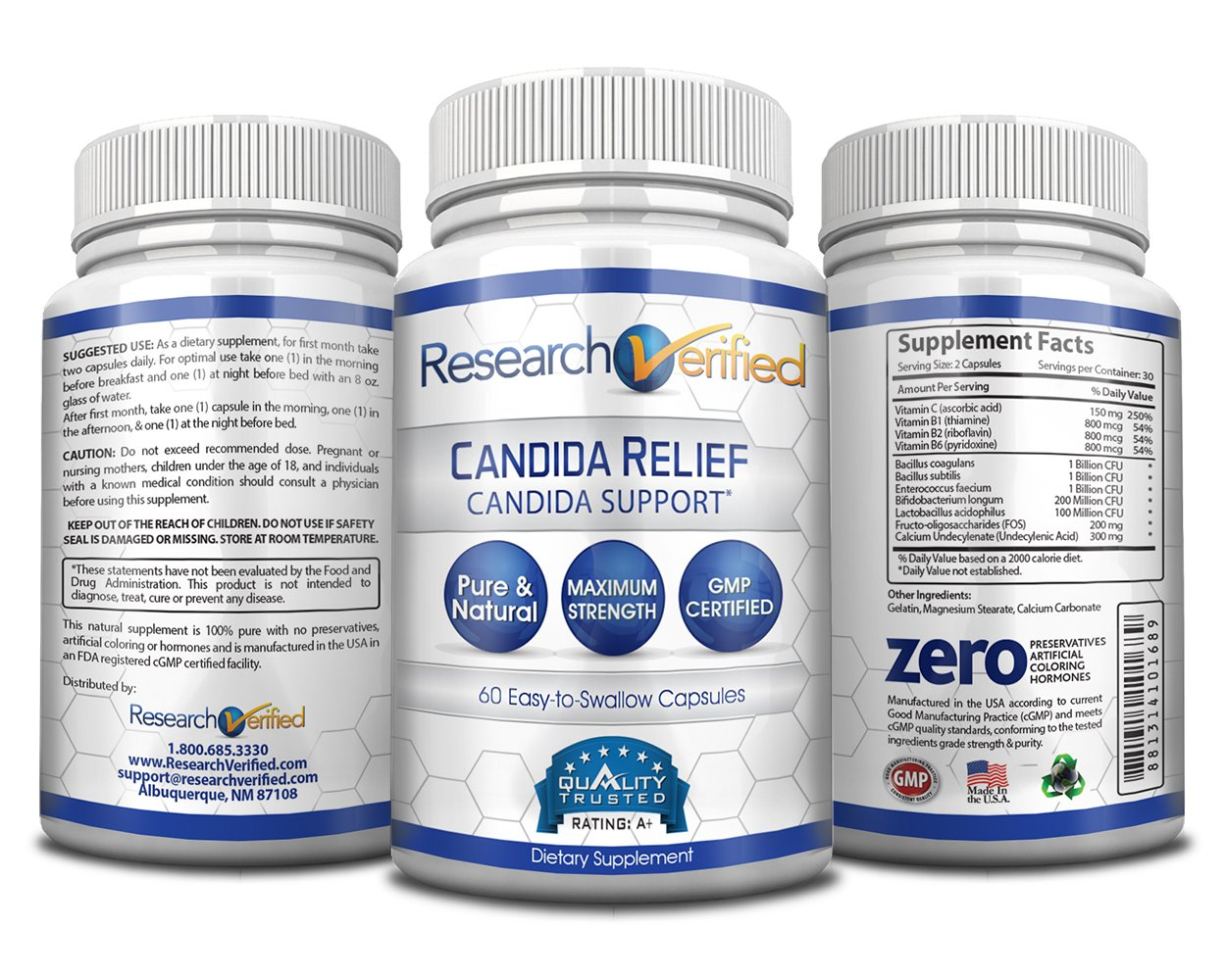 Research Verified Candida Relief - #1 Yeast Infection & Candida Supplement - 100% Natural - w/ 5 strains of probiotic healthy bacteria and Vitamin B & C - 100% Money Back - 6 Bottles (6 Months Supply) by Research Verified (Image #2)