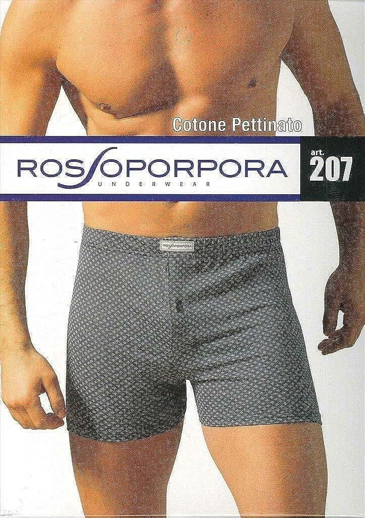 ROSSOPORPORA Boxer Uomo in Cotone Pettinato con Elastico Interno e bottoncino.col.Assortiti.Set da 6 pz Art.207