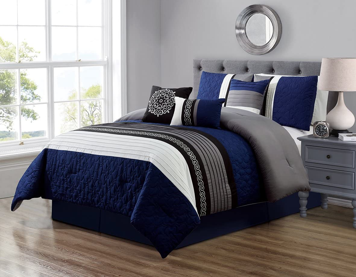 GrandLinen 7 Piece Navy Blue Grey Black White Scroll Embroidery Bed in A Bag Microfiber Comforter Set California Cal King Size Bedding. Perfect for Any Bed Room or Guest Room